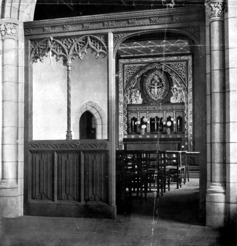 Photo of chapel screen and reredos