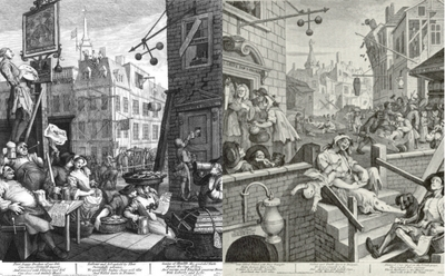 Beer Street and Gin Lane by Hogarth