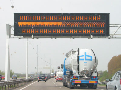 crashed motorway sign