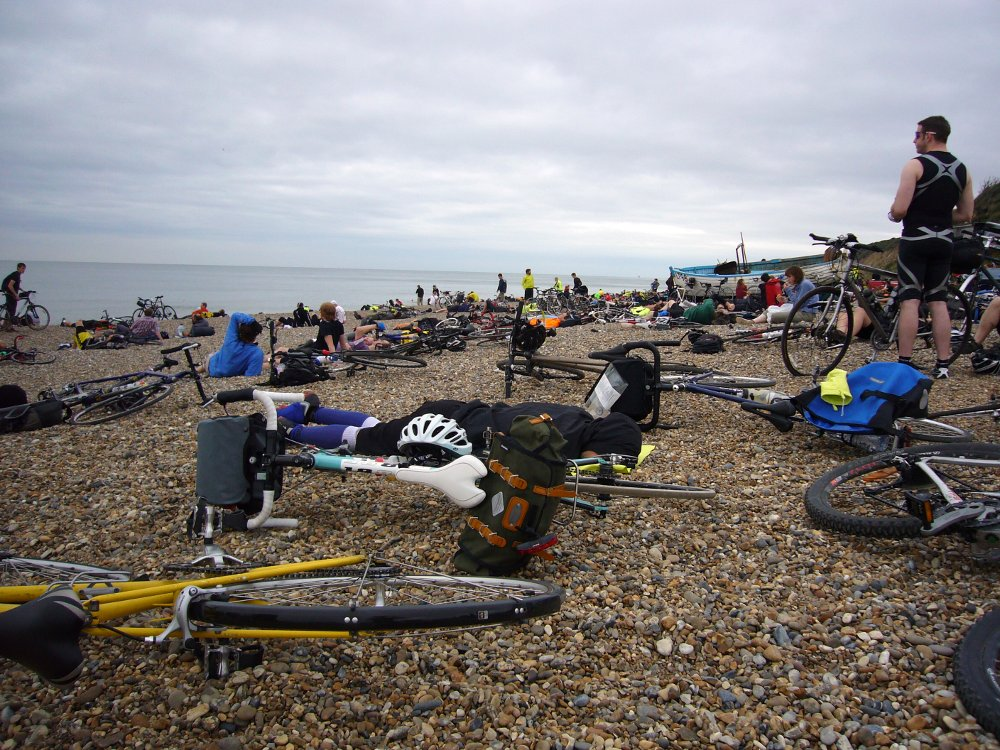 Cylists on Dunwich Beach at the end of the Dunwich Dynamo