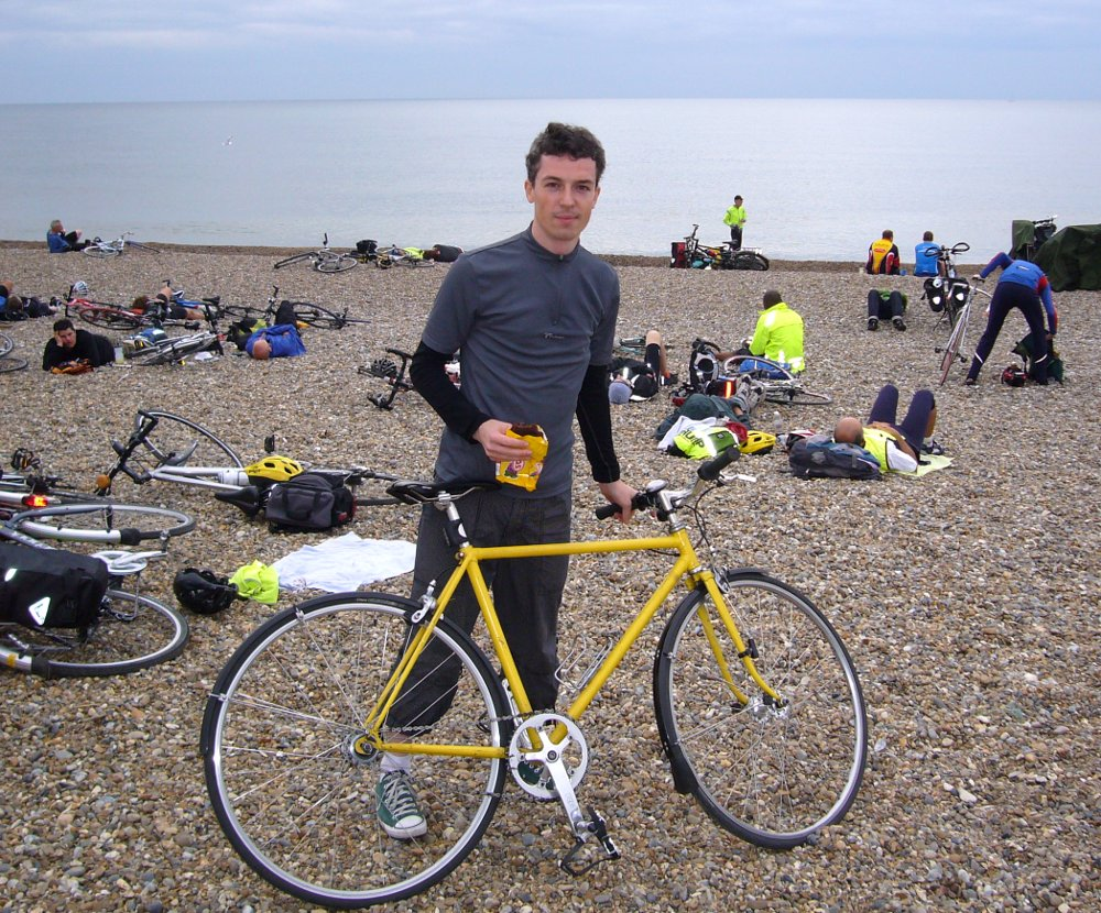 Me on Dunwich Beach at the end of the Dunwich Dynamo