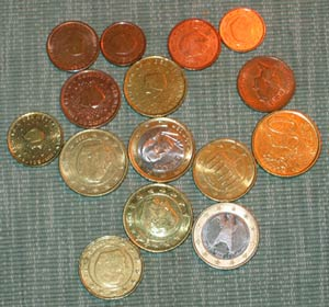 A selection of Euro coins from my pocket