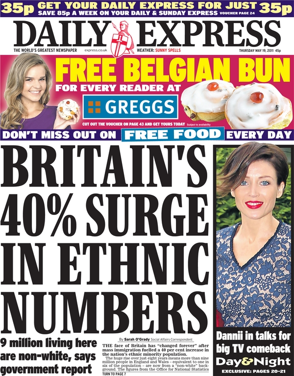 BRITAIN'S 40% SURGE IN ETHNIC NUMBERS