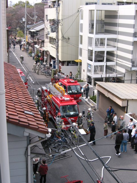 Apartment fire (balcony shot)
