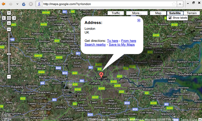 Google Maps on a small screen with extraneous clutter removed