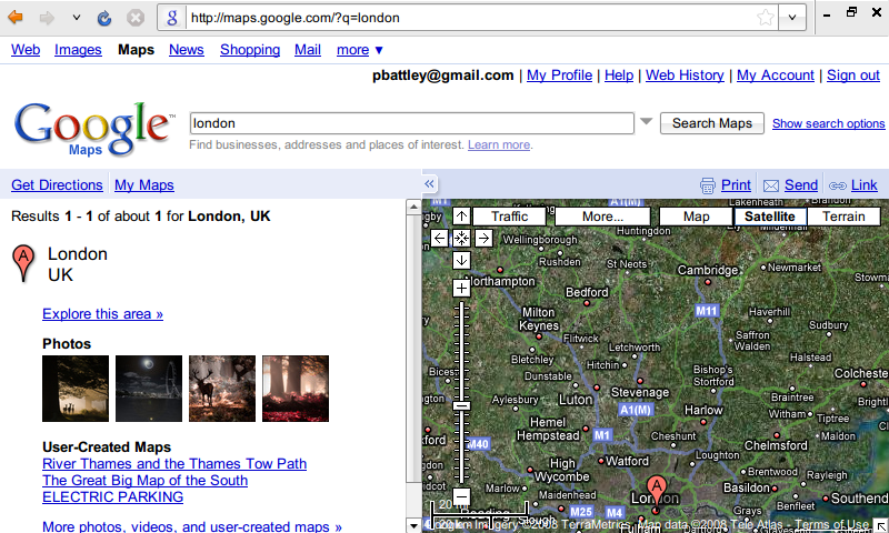 Google Maps on a small screen as it appears by default