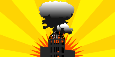 Stylised image of mushroom cloud and the Atomic Bomb dome in Hiroshima