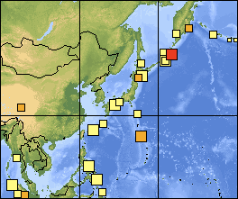Map of earthquakes in Japan