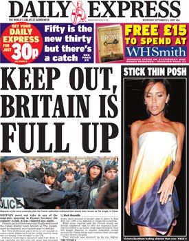 Daily Express front page: Keep Out, Britain is Full Up