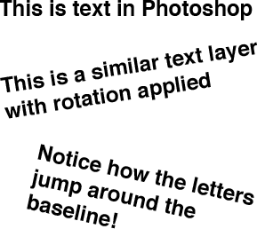Example of Photoshop rotating text incorrectly