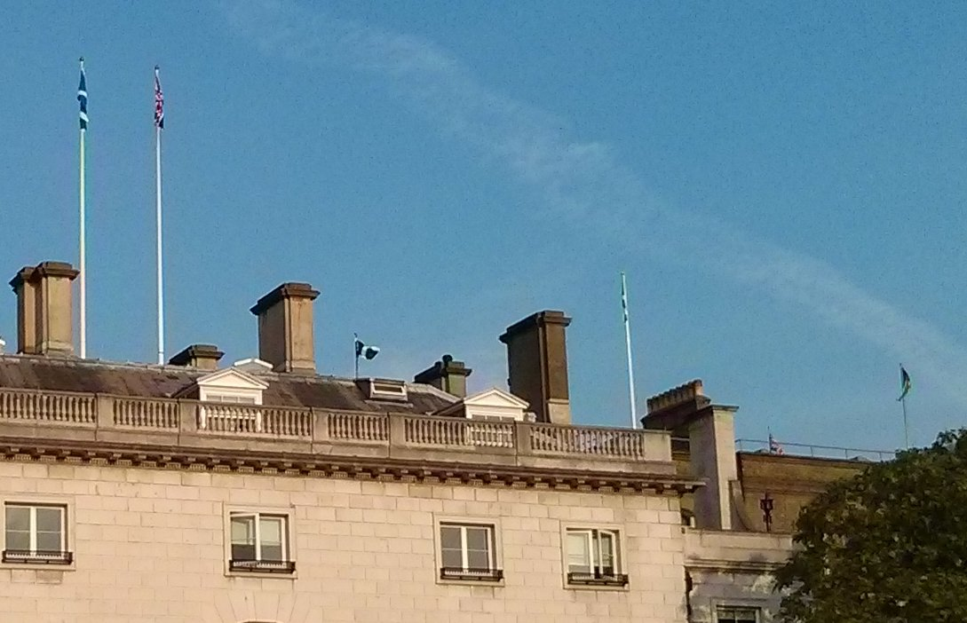 Scottish flags flying in London, September 2014