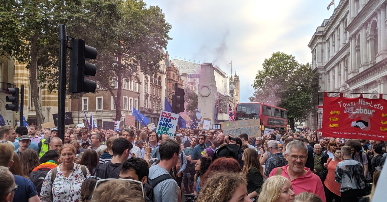 Stop the coup protest outside Downing Street, 28 August 2019