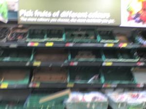 No fruit on the shelves at Tesco
