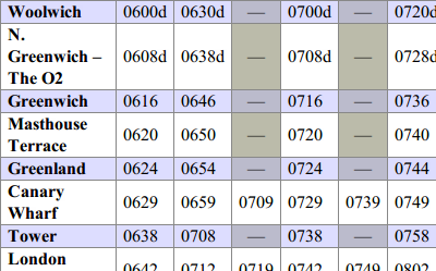 screenshot of accessible timetable