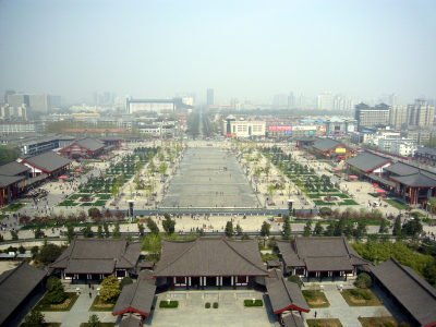 Looking north at Xi'an from the top of the Big Wild Goose Pagoda