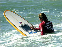 Wi-fi surfboard with computer built in